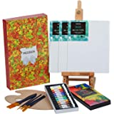 MEEDEN 22 Pcs Acrylic Painting Set with 16.8'' Tabletop Easel, 12 Colors Acrylic Paints, 3 Canvas Panels, 5 Paint Brushes & W