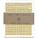 SUPERSCANDI Dish Towel & Swedish Dish Cloth Gift Set (Tea Towel & Dishcloth Gift Set, Moon Yellow)