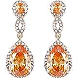 EVER FAITH Austrian Crystal Zircon Wedding 8-Shaped Pierced Dangle Earrings