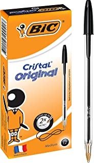 BIC Cristal Original Ball Pens Medium Point (1.0 mm) - Black, Box of 12