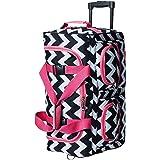 "Rockland 22"" Rolling Duffle Bag, Pink Chevron (Multi) - PRD322-PINKCHEVRON"