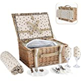 G GOOD GAIN Willow Picnic Basket Set for 2 Persons with Large Insulated Cooler Bag,Wicker Picnic Hamper for Camping,Outdoor,V