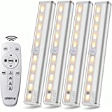 Remote Control Cabinet Light, Dimmable 10-LED Wireless Under Counter Lighting, Battery Operated Closet Light, Stick-on Touch