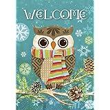 Morigins Cute Owl Christmas Holly Winter Double Sided House Flag 28x40
