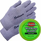 Hand Cream for Dry Cracked Hands and Hand Repair Gloves Bundle: O'Keeffe's Working Hands Cream (Unscented, Non-Greasy 90ml),