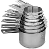 Cedara Living Australia - Stainless Steel Measuring Cups [Set of 7] - Dishwasher Safe - Heavy Duty Stainless Steel Nesting /