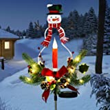 Doingart Outdoor Solar Christmas Light Decorations, LED Candle, Snowman Christmas Light with Faux Pine Cones, Foliage Accents