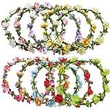 Rocutus 10pcs Bohemian Flower Crown Floral Wreath Garland Headbands for Women colorful