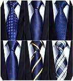 Enlision(エリション)絹30% ブランド ネクタイ 6本セット 幅8.5cm 全長150cm チーフ付け