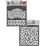 "CrafTreat Fancy Bricks & Stone Background Stencil 6\""X6\"