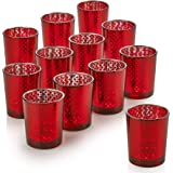 PARNOO Mercury Glass Candle Holders for Votive Candles and Tealights Set of 12 Lattice Red