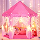 Sumbababy Princess Castle Tent for Girls Fairy Play Tents for Kids Hexagon Playhouse with Large Star Lights Toys for Children