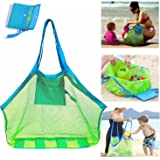 SupMLC Mesh Beach Bag Extra Large Beach Bags and Totes Tote Backpack Toys Towels Sand Away for Holding Beach Toys Children' T