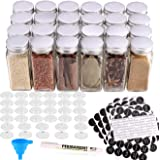 MONICA 24 Glass Spice Jars with w/3 Types of Labels-4oz Empty Square Spice Containers,Three Kinds of Shaker Lids and Airtight