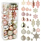 RN'D Christmas Snowflake Ball Ornaments - Christmas Hanging Snowflake and Ball Ornament Assortment Set with Hooks (Yellow & R