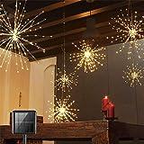2 Pack Solar Starburst Lights,200 LED Energy Saving Waterproof Firework Lights, Copper Hanging String Lights, Fairy Lights fo