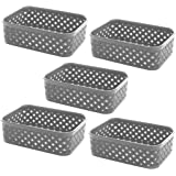 BINO Woven Plastic Storage Basket (5PK- XS, Light Grey)