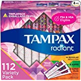 Tampax Radiant Plastic Tampons, Regular/Super/Super Plus Absorbency Triplepack, Unscented, 28 Count, Pack of 4 (Total 112 Cou