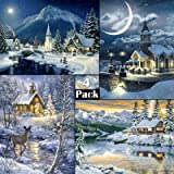 4 Pack 5d Diamond Painting Kits Full Drill Rhinestone Winter Pictures for Home Wall Decor Winter (12 X 16 Inch)