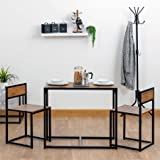 Harbour Housewares 2 Person Space Saving, Compact, Kitchen Dining Table & Chairs Set for Small Spaces