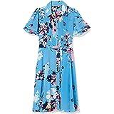 Donna Morgan Women's Short Sleeve Printed Chiffon Shirt Dress
