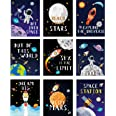 Blulu 9 Pieces Outer Space Décor Kids Nursery Bedroom Space Posters Decor, 8 x 10 Inch, Cute Inspirational Wall Art Decoratio