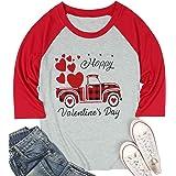 KIDDAD Buffalo Plaid Truck Shirts Women Heart Graphic Tops Valentine's Day Tees Splicing Baseball Shirts