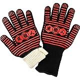 炭職人 耐熱グローブ 耐熱手袋 バーベキュー グローブ 【耐熱温度 約500°】 両手 2枚セット 鍋つかみ 滑り止め 5本指