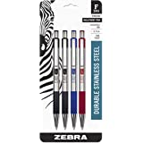 Zebra F-301 Ballpoint Stainless Steel Retractable Pen, Fine Point, 0.7mm, Assorted Ink, 4-Count: 2 Black, 1 Blue, 1 Red