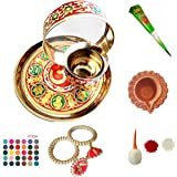 DECORATIVE BUCKETS: KARWA CHAUTH THALI Set   MEENAKARI THALI Combo of 11   Traditional Pooja THALI   Indian Hand Made Decorat