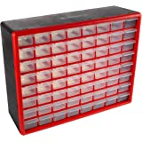 Storage Drawers-64 Compartment Organizer Desktop or Wall Mountable Container for Hardware, Parts, Craft Supplies, Beads, Jewe