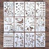 DIY Decorative Stencil Template for Painting on Walls Furniture Crafts, Pack of 12