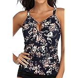 PERONA Women's Tankini Top Plus Size Swim Top Tummy Control Bathing Suit Top Printed Swimwear