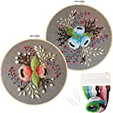 2 Pack Embroidery Starter Kit with Pattern, Stamped Embroidery Kit Including Embroidery Cloth with Pattern, Bamboo Embroidery