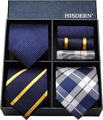 HISDERN(ヒスデン) ブランド ネクタイ チーフ 3本セット メンズ ネクタイ 高級 ギフトボックス付き 20柄物 ビジネス 結婚式 卒業式 父の日 プレゼント TA3-02S