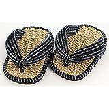 日本製現代の足半縄草履 (縞柄・紺)