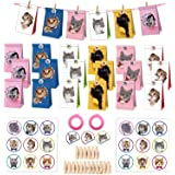 18PCS Cat Gift Bags - Kitten Kraft Paper Gift Bags Banner Candy Bags Party Favor Bags Treat Bags- 18PCS Stickers and 18PCS Wo