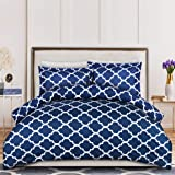 (Queen, Navy) - Printed Duvet-Cover-Set - Brushed Velvety Microfiber - Luxurious, Comfortable, Breathable, Soft & Extremely D