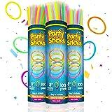 "Glow Sticks Bulk Party Favors 300pk - 8"" Glow in The Dark Party Supplies Light Sticks, Halloween Decorations, Glow Necklaces"