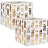 DII Foldable Fabric Storage Containers (13x13x13) Pineapple Set of 2, Large (2), White/Gold 2 Count