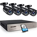 ZOSI 8-Channel HD-TVI 1080P Video Security Camera System,DVR Recorder with 1TB Hard Drive and (4) 2.0MP 1920TVL Indoor/Outdoo