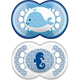MAM Clear Pacifier (2 pack, 1 Sterilizing Pacifier Case), Pacifiers 6 Plus Months, Best Pacifiers for Breastfed Babies, Steri