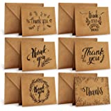 Ohuhu Thank You Cards Of, 36 Pack Brown Kraft Paper 6 Design Of Assorted Thank U Greeting Note Card With Envelopes And Sticke