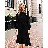 The Drop Women's Black Ruffle-Shoulder Tiered Midi Dress by @fashion_jackson