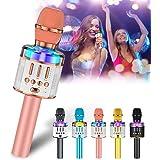 Verkstar Karaoke Microphone for Kids & Adult, Handheld Wireless Bluetooth Karaoke Mic Speaker Music Player Recorder with LED