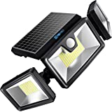 TBI Security Solar Lights Outdoor 216 LED 2200LM, 6500K, 7W - Extra-Wide Adjustable 360° 3 Heads with 3 Modes, Wireless Motio
