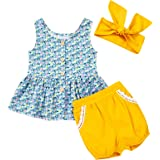 YOUNGER TREE Kids ToddlerBaby Girls Shorts Outfits Set Floral Print Ruffle Dress Shirt Tops+Short Pants Summer Dresses 3Pc C
