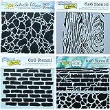 4 Mixed Media Stencils Set | Brick, Wall, Stone, Wood Grain Designs | 6 Inch x 6 Inch Templates for Arts, Card Making, Journa