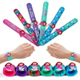 FROG SAC 6 Slap Bracelets for Kids, Girls, Boys - Birthday Party Favors and Supplies - 3D Charm Silicone Bracelet Set - Holid