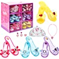 Fedio Girls Princess Dress up Shoes Role Play Collection Shoes Set with Princess Tiara and Accessories Jewelries
